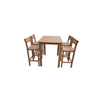 Ensemble de table de bar et 4 tabourets en bois acacia fsc - 110x80x100cm
