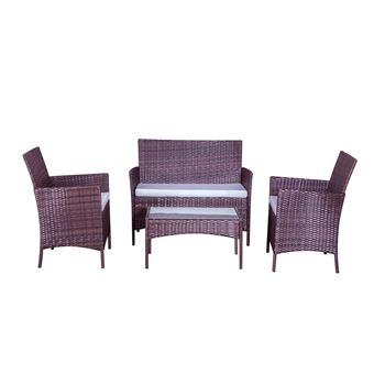 Mykonos marron/blanc : salon de jardin 4 places en résine ...