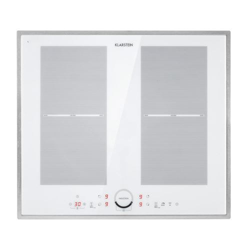 Klarstein Delicatessa 60 - Plaque de cuisson à induction encastrable, 4 zones, 9 niveaux, vitrocéramique - Blanc
