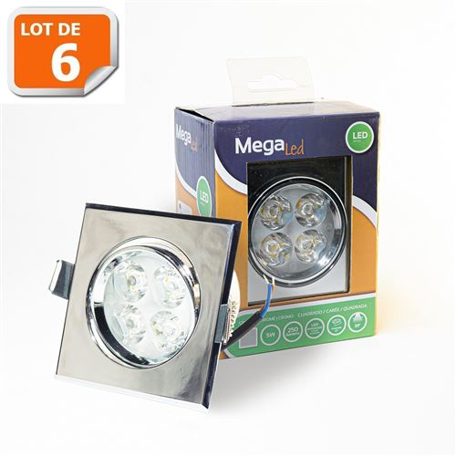 Lot 6 Spots encastrables LED amovibles Argenté 5W - Equivalent 50W - Mega Led CLISS50W