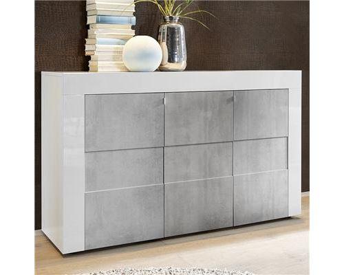 Bahut blanc laqué brillant et effet béton FACTORY 2 - Blanc - L 138 x P 42 x H 84 cm