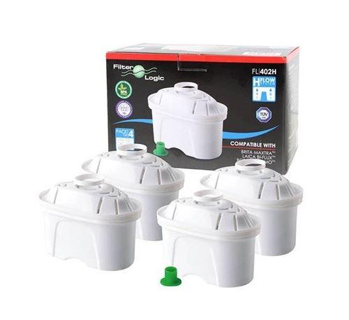 Lot de 4 filtres pour carafe FL-402H - Filtration 4 étapes - Compatible Brita Maxtra