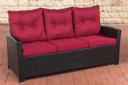 Canapé de Jardin Fisolo 3 places en polyrotin , Noir /Rouge rubis