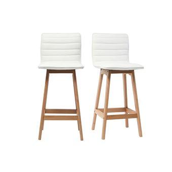 13 Sur Tabouret De Bar Design Bois Et Pu Blanc 65cm Lot De 2 Emma