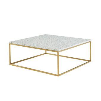 Table basse design ARETHA - Terrazzo & Métal - Blanc ...