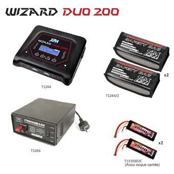 Pack T2M Chargeur Wizard Duo 200 Lipo Bag x2 Powerbase T1266 2 x Accus Lipo 3500mah