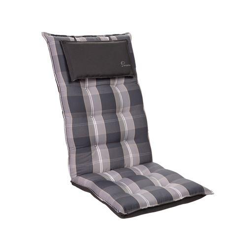 Coussin de chaise de jardin -Blumfeldt Sylt -120 x 50 x9 cm -1 pièce -Gris / blanc