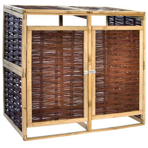 Abri de poubelle double pinède et osier 137 x 80 x 135.5 cm