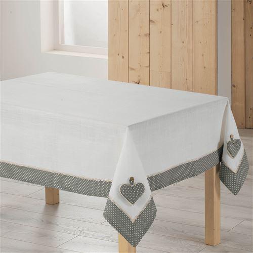 Nappe rectangle 140 x 240 cm polyester fanny Gris/Blanc