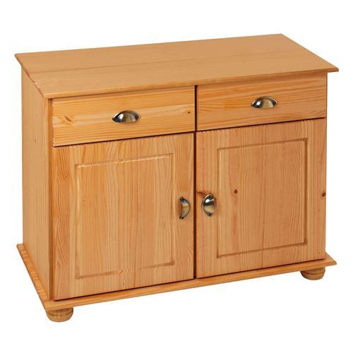 Buffet COLMAR commode bahut vaisselier meuble bas rangement avec 2 tiroirs et 2 portes, en pin massif teinté et ciré