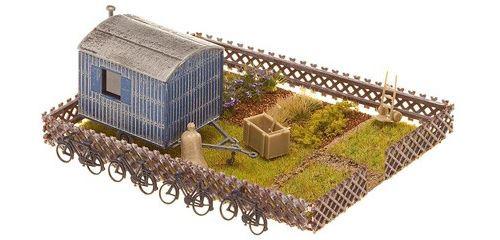 Jardin ouvrier + mobile home Faller HO