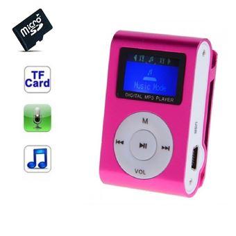 Lecteur MP3 8 Go - à carte mémoire - clip ceinture - Ecran LCD - Radio FM - Rose