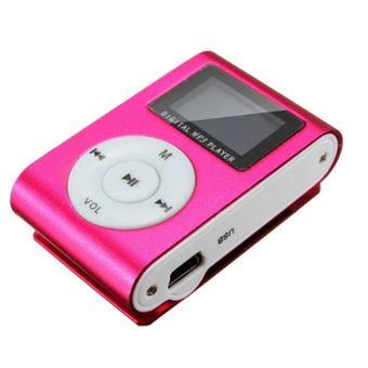 Lecteur MP3 8 Go à carte mémoire clip ceinture Ecran LCD Radio FM Rose