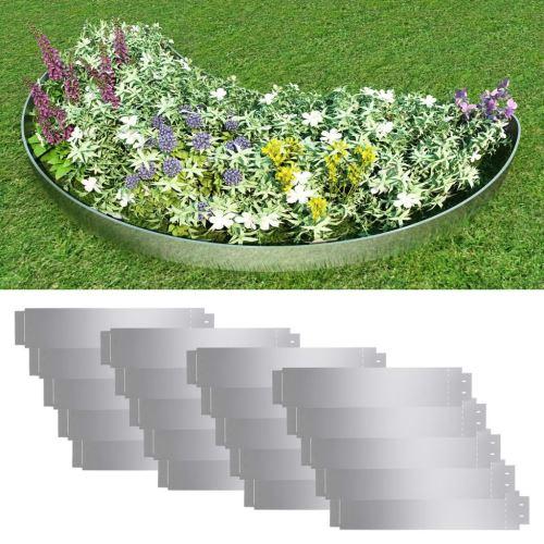 Ensemble de bordure de pelouse 20 pcs Acier galvanisé 100x20 cm