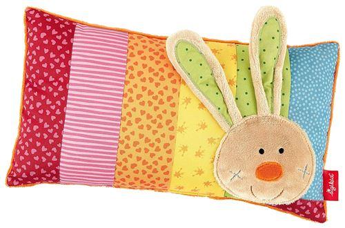sigikid 40991, fille et garçon, coussin motif lapin, multicolore, taille 35 x 20 cm, 'Rainbow Rabbit'