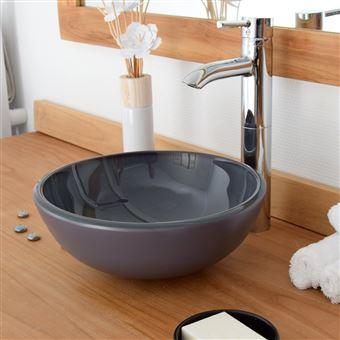 Vasque ronde en verre gris Rany
