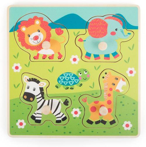 Small Foot- Puzzle à Poser composé de 6 pièces en Bois à l'image d'animaux de la Savane. Forge la motricité et la Patience, 10726