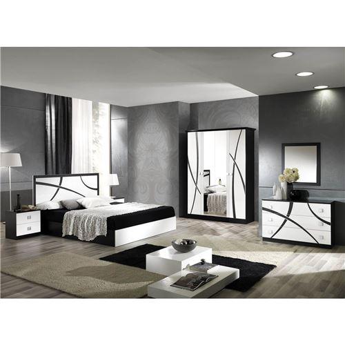 ALYSSA - Chambre Complète 160x200cm Blanche et Noire