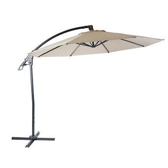 Parasol Déporté De Luxe Hwc D14 Protection Contre Le Soleil ø 3m Crème Blanc Sans Support