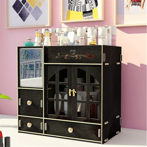 Organisateur de maquillage Cosmetic Storage Box Drawer Case Brush Lipstick noir