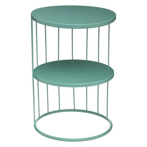 HOMEMANIA Table Basse Luxury - avec Étagères - pour Canapé, Salon - Bleu Clair en Fer, 36 x 36 x 52 cm