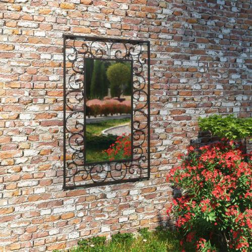 Miroir Mural Miroirs en verre Miroir Décoration de jardin pour Salon miroir Salle de Bains 50 x 80 cm noir Modèle 2