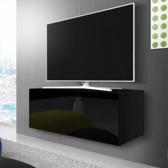 meuble tv suspendu point 100 cm noir mat noir. Black Bedroom Furniture Sets. Home Design Ideas