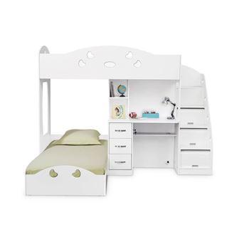 lit superpos avec rangements et bureau 90x190cm combal blanc lit pour enfant achat prix fnac - Lit Superpose Avec Rangement