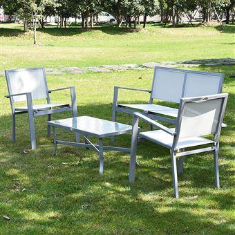 Ensemble salon de jardin meuble de jardin 4 places en textilène 1 ...