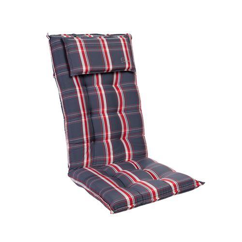 Coussin de chaise de jardin -Blumfeldt Sylt -120 x 50 x9 cm -1 pièce -Gris / Rouge