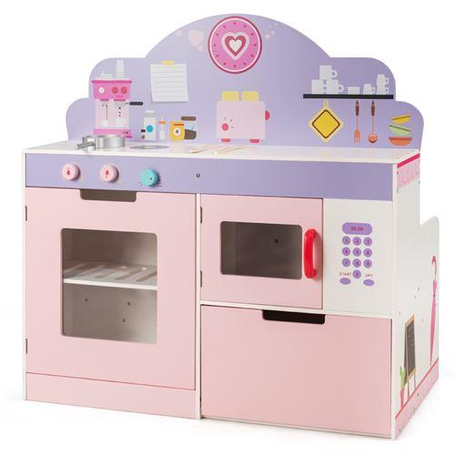 cuisine pour enfant giantex en bois, 92 x 50 x 93cm dînette cuisinière éducatif, boutons rotatifs avec effet sonore,3 accessoires, surface lisse