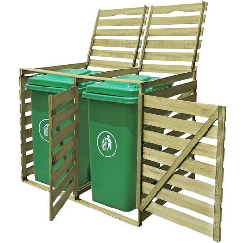 Abri pour poubelle double 240 L Bois imprégné 142 x 92 x 120 cm