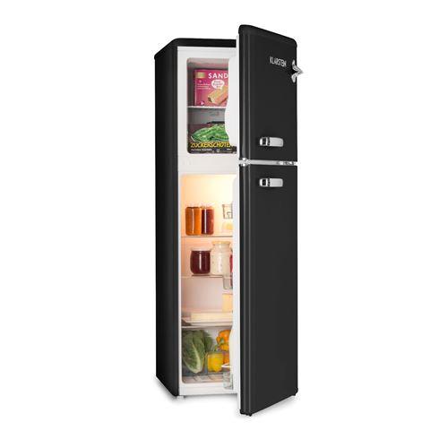 Klarstein Audrey Réfrigérateur avec Congélateur haut - Volume : 136 L ( 97L + 39L) - 41 dB - classe A+ - look rétro noir