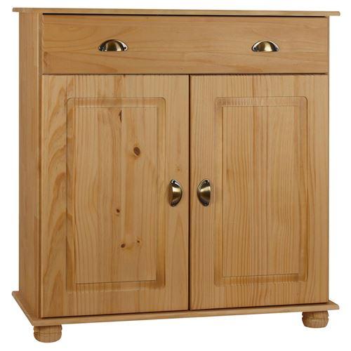 Buffet COLMAR commode bahut vaisselier meuble bas rangement avec 1 tiroir et 2 portes, en pin massif teinté et ciré
