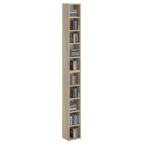 Etagères modulables MUSIQUE pour CD et DVD, lot de 2 meubles de rangement en colonne avec 10 compartiments, en mélaminé chêne sonoma