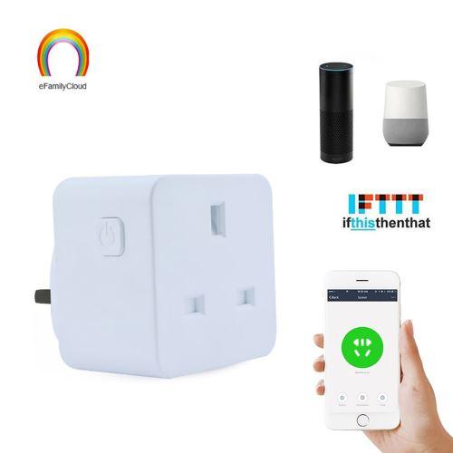 Smart WiFi Prise d'alimentation UK Plug Commutateur pour Amazon Alexa / Accueil Google App contrôle wedazano288