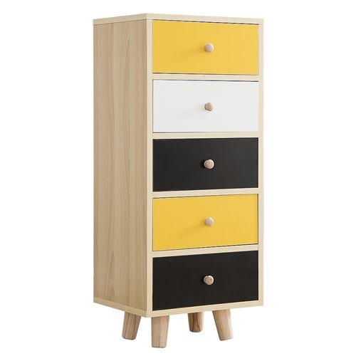 Hawoola Petit commode en Pois MDF avec 5 étagères et Pieds en bois 85 x 35 x 30CM- multicolore