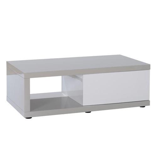 Table basse 1 porte Gris/Blanc - PATTAYA