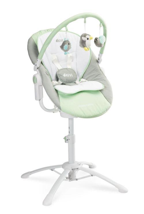 KIMMI | Chaise haute évolutive 3en1 transat + balancelle bébé/enfant 0+ jusqu'à 15 kg | Inclinable + Musique + Vibrations | Menthe