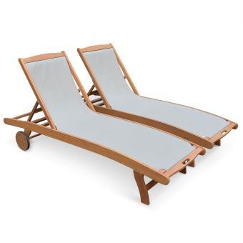 2 bains de soleil Marbella eucalyptus textilène - Alice\'s ...