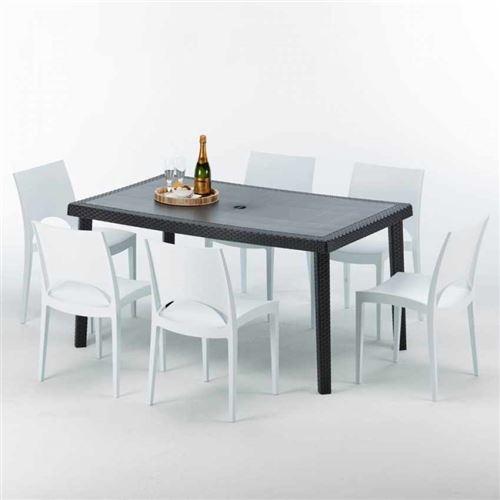 Table rectangulaire et 6 chaises Poly rotin colorées 150x90cm noir, Chaises Modèle: Paris Blanc