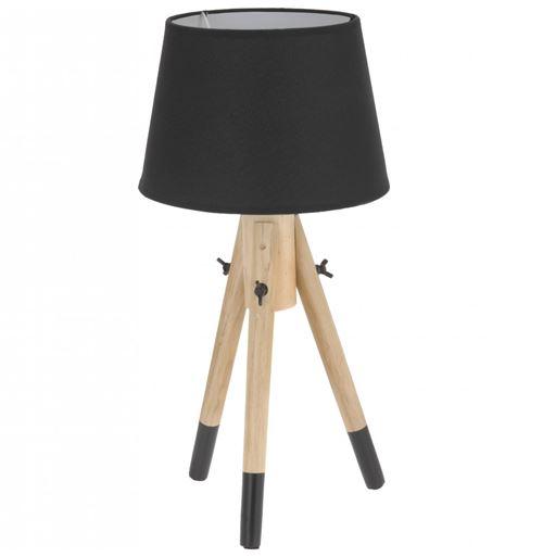 Lampe de chevet - 49 cm - Bois - Noir