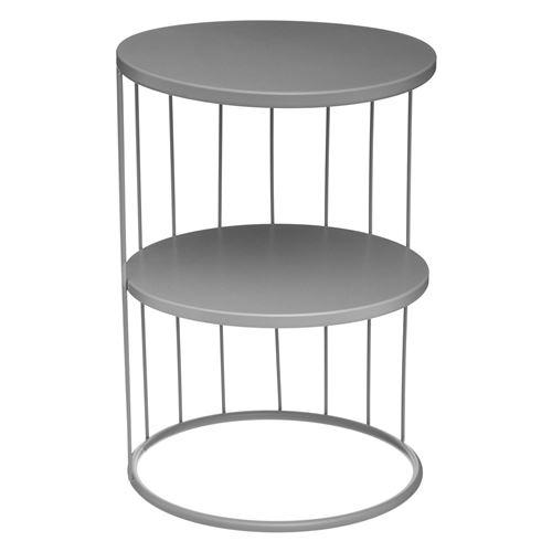 Atmosphera - Table d'appoint design filaire Kobu - Diam. 36 x H. 52 cm - Gris - Kobu