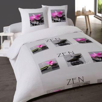 Parure De Draps Galet Zen Pour Lit De 140x190 Cm 4 Pieces
