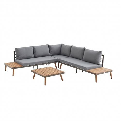 Salon de jardin en bois 5 places - Buenos Aires - Coussins gris canapé d'angle tablettes latérales et table basse en acacia structure alu piétement scandinave design