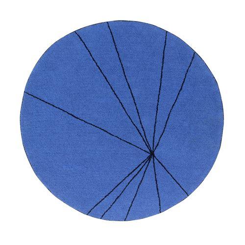 Tapis géométrique rond bleu royal trace lorena canals