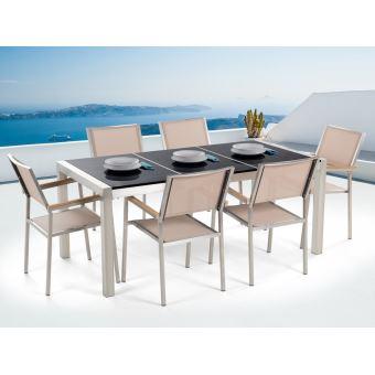 Beliani - Table de jardin acier inox - plateau granit triple noir poli 180  cm avec 6 chaises en textile beige - Grosseto