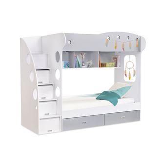 lit superpos avec rangements tiroirs et tagres 90x190cm combal grisblanc lit pour enfant achat prix fnac - Lit Superpose Avec Rangement
