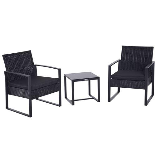Salon de jardin 2 places 3 pièces 2 chaises avec coussins + table basse plateau verre trempé résine tressée 4 fils imitation rotin noir