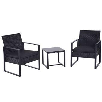 Salon de jardin 2 places 3 pièces 2 chaises avec coussins + table ...
